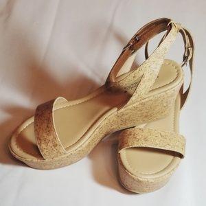 Shoe Dazzle Staci Cork Wedge Sandals